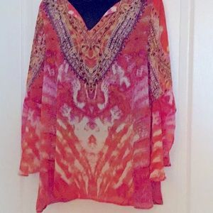 Flouncy coral/pink tunic NWOT